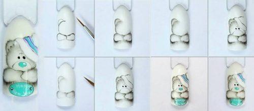 Как делать маникюр с мишками Тедди