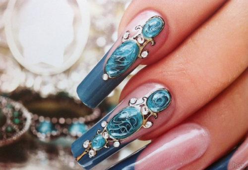 Жидкие камни на ногтях пошагово