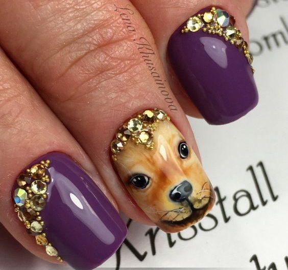 маникюр с собакой