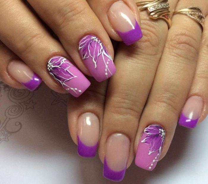 Маникюр нежно-фиолетового цвета с розовым