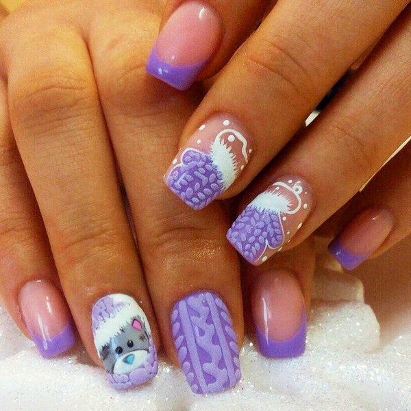 Вязаный маникюр нежно-фиолетового цвета